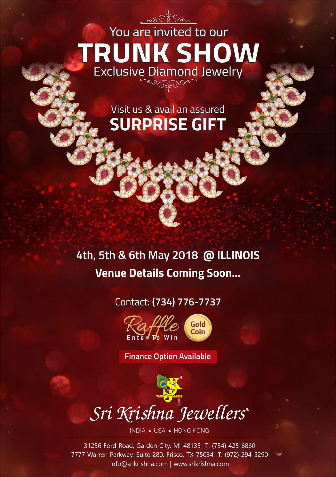 Sri Krishna Jewellers - Trunk Show in Illinois: Exclusive Diamond Jewelry